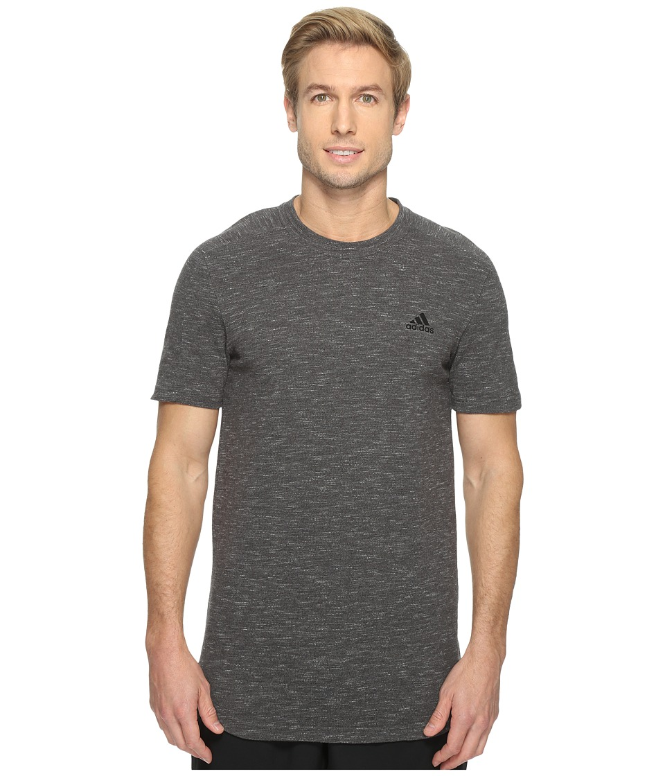 adidas - Essentials Heathered Piqu Tee (Dark Grey Heather) Men's T Shirt