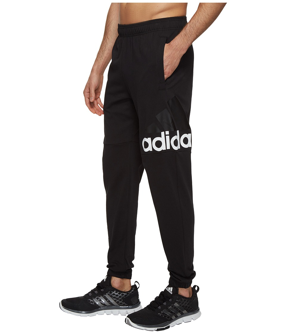 adidas - Essentials Track SJ Logo Pants (Black/White) Men's Workout