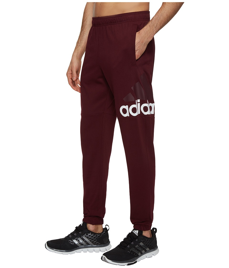 adidas - Essentials Track SJ Logo Pants (Maroon/White) Men's Workout