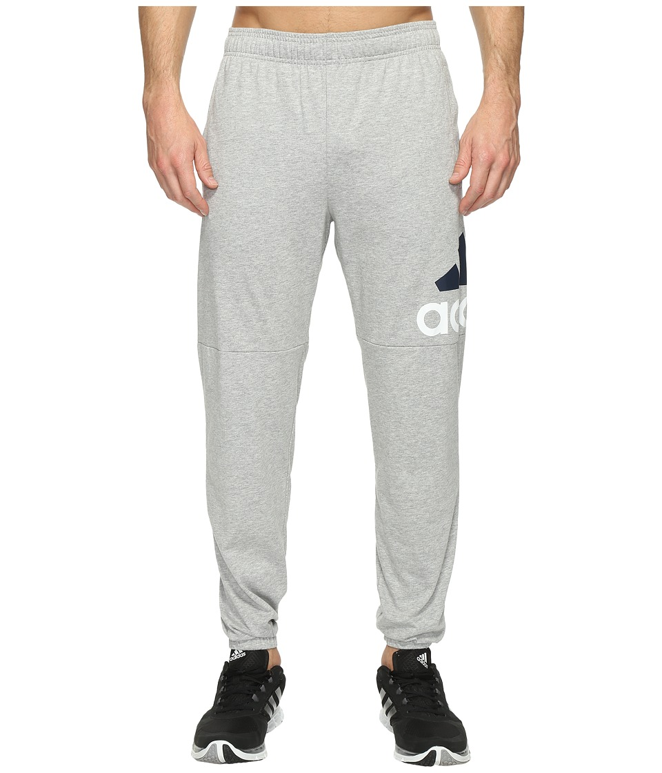adidas - Essentials Track SJ Logo Pants (Medium Grey Heather/White/Black) Men's Workout