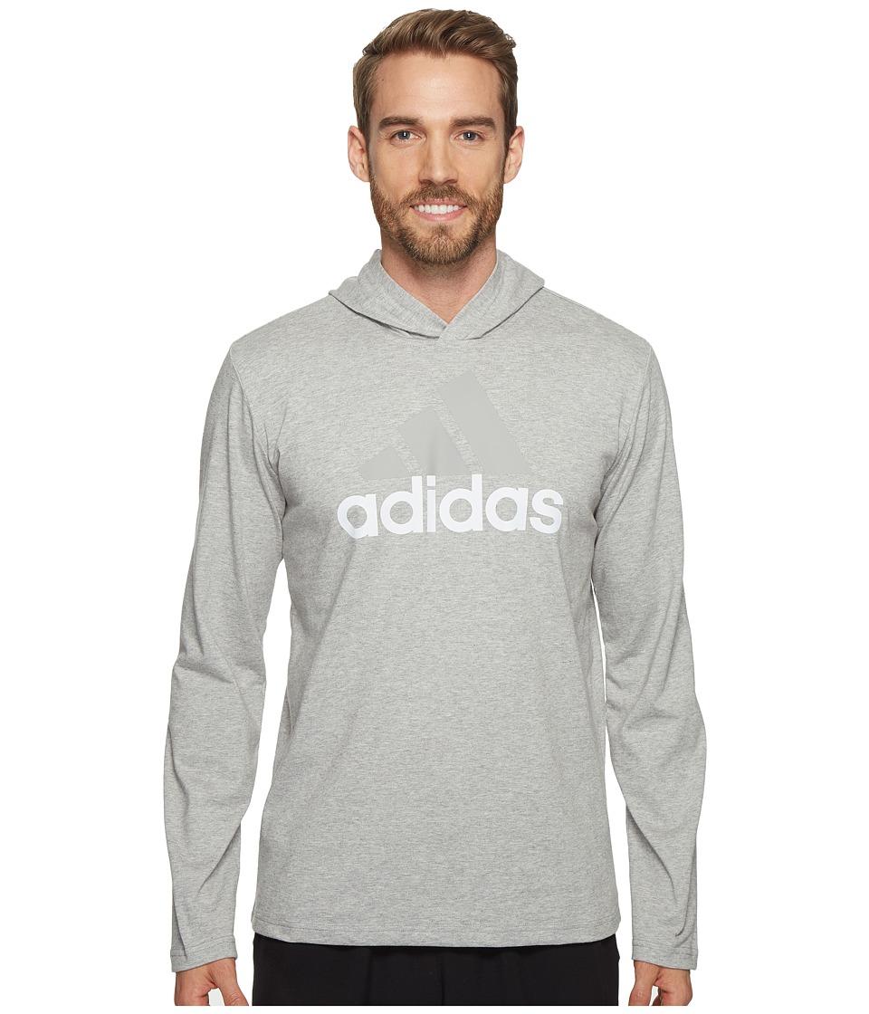 adidas - Badge of Sport Long Sleeve Hoodie (Medium Grey Heather) Men's Sweatshirt