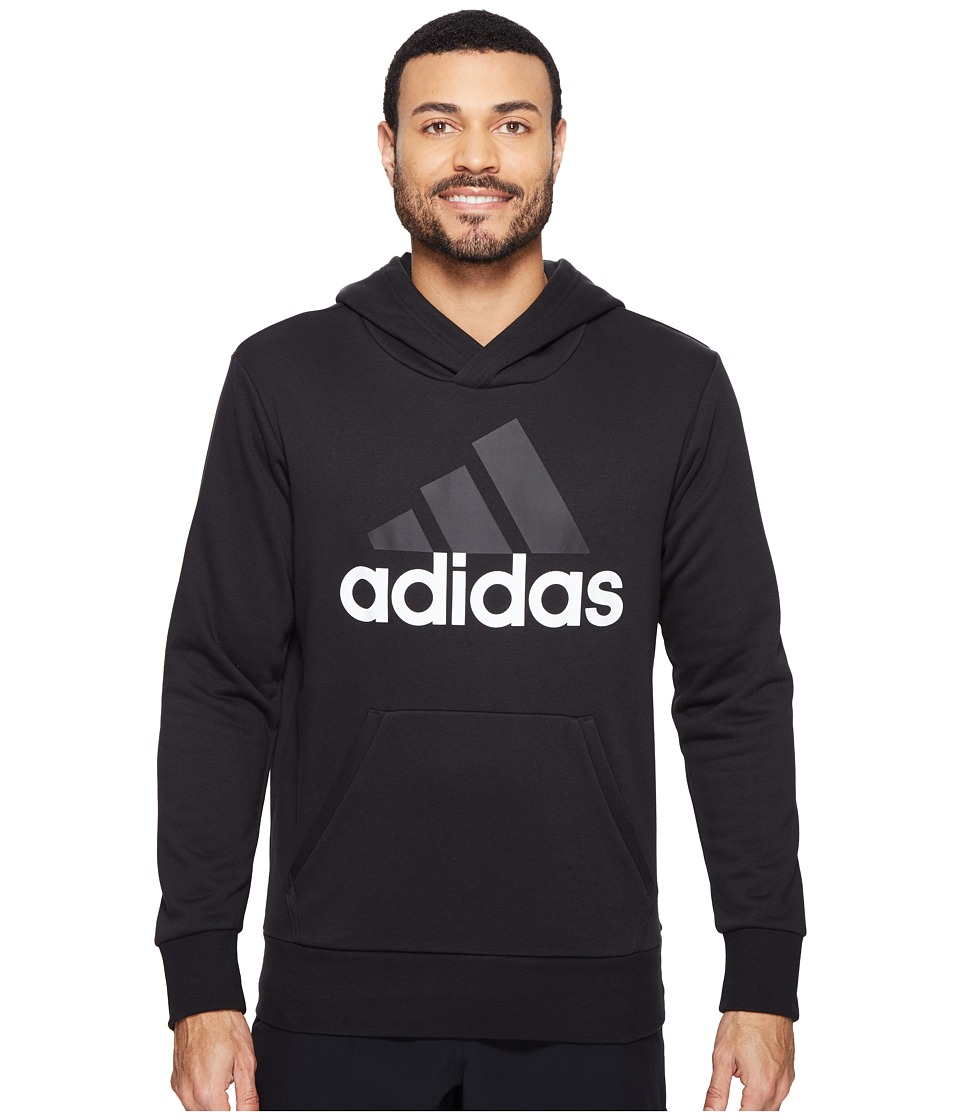 adidas - Essentials Linear Pullover Hoodie French Terry (Black/White) Men's Sweatshirt