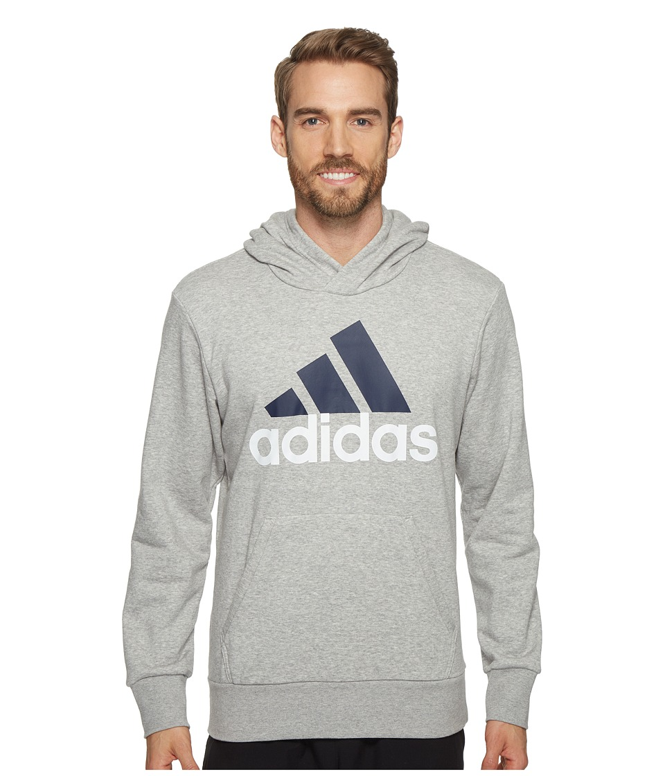 adidas - Essentials Linear Pullover Hoodie French Terry (Medium Grey Heather) Men's Sweatshirt