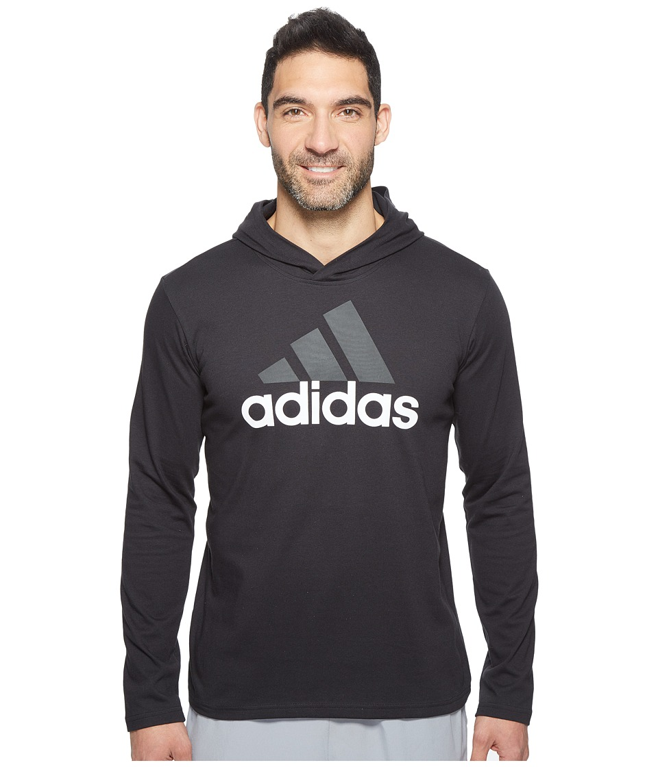 adidas - Badge of Sport Long Sleeve Hoodie (Black) Men's Sweatshirt