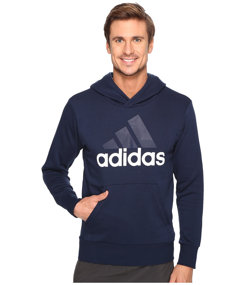 adidas - Essentials Linear Pullover Hoodie French Terry (Collegiate Navy/White) Men's Sweatshirt