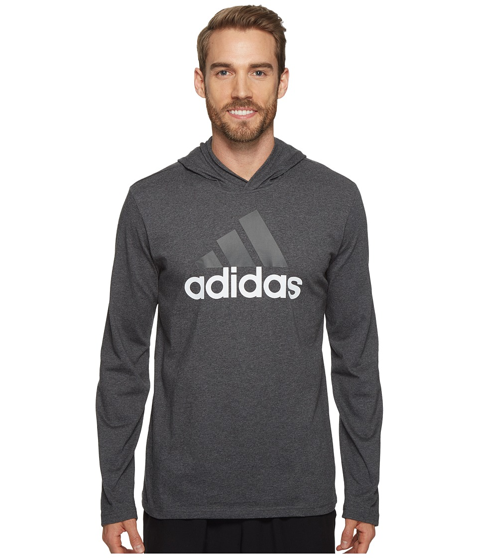adidas - Badge of Sport Long Sleeve Hoodie (Dark Grey Heather) Men's Sweatshirt