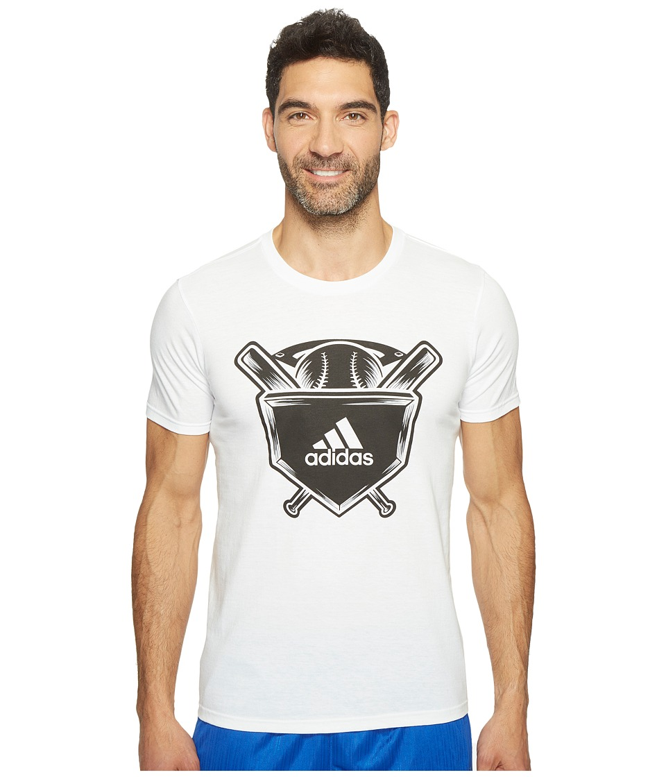 adidas - Home Plate Tee (White/Black/Grey) Men's Short Sleeve Pullover