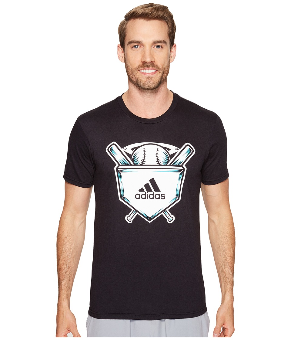 adidas - Home Plate Tee (Black/White/Energy Blue) Men's Short Sleeve Pullover