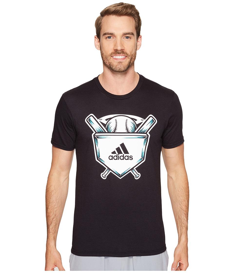 adidas - Home Plate Tee (Black/White/Energy Blue) Men's Short Sleeve Pullover