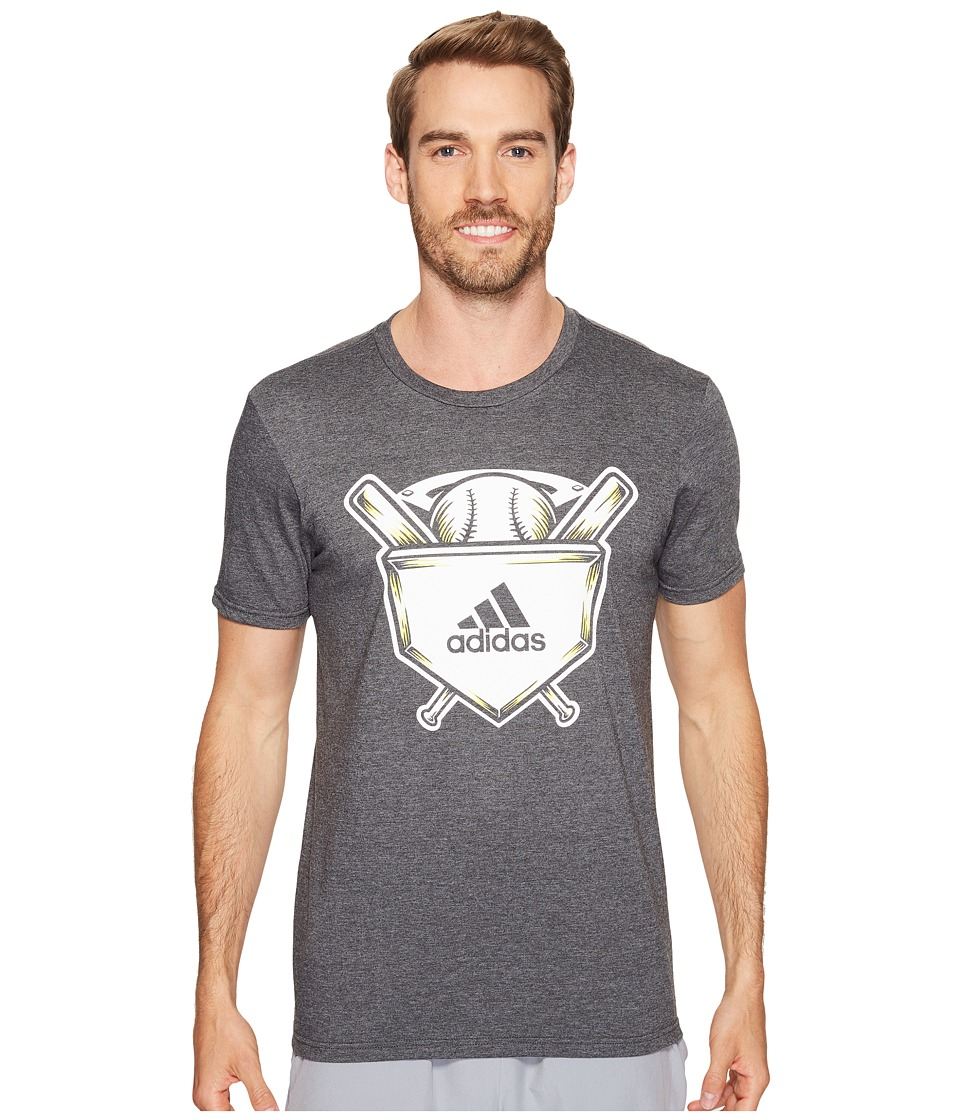 adidas - Home Plate Tee (Dark Grey Heather/White/Shock Yellow) Men's Short Sleeve Pullover