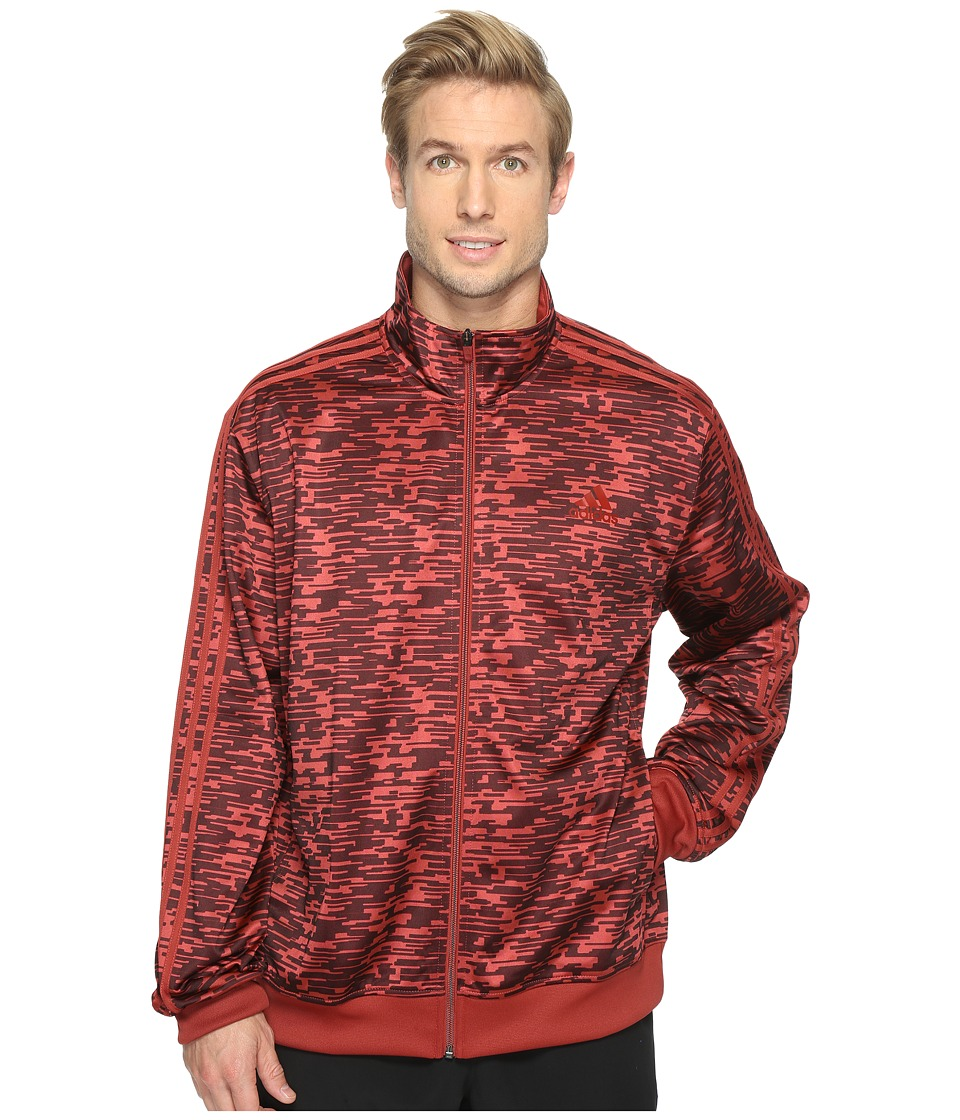 adidas - Essentials Heathered Track Jacket (Mystery Red/Print) Men's Coat
