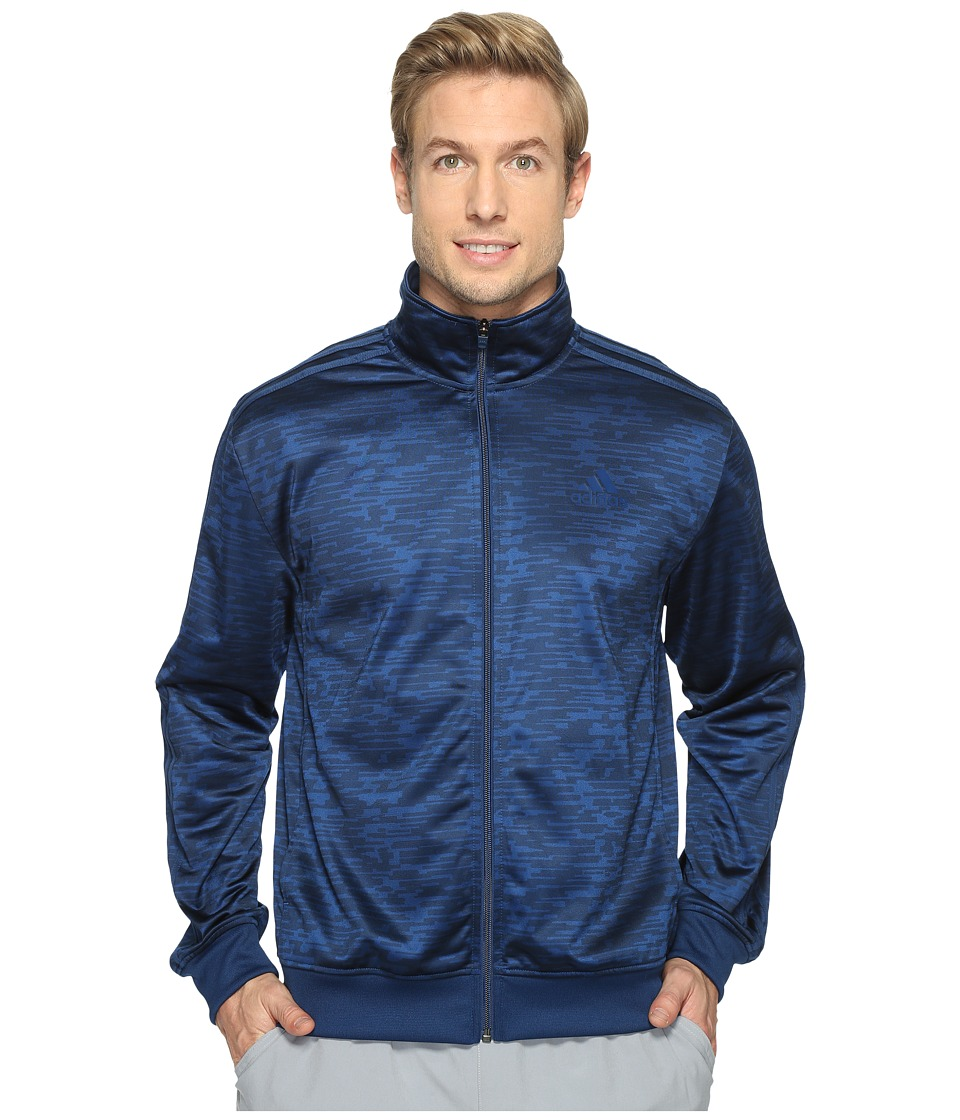 adidas - Essentials Heathered Track Jacket (Mystery Blue/Print) Men's Coat