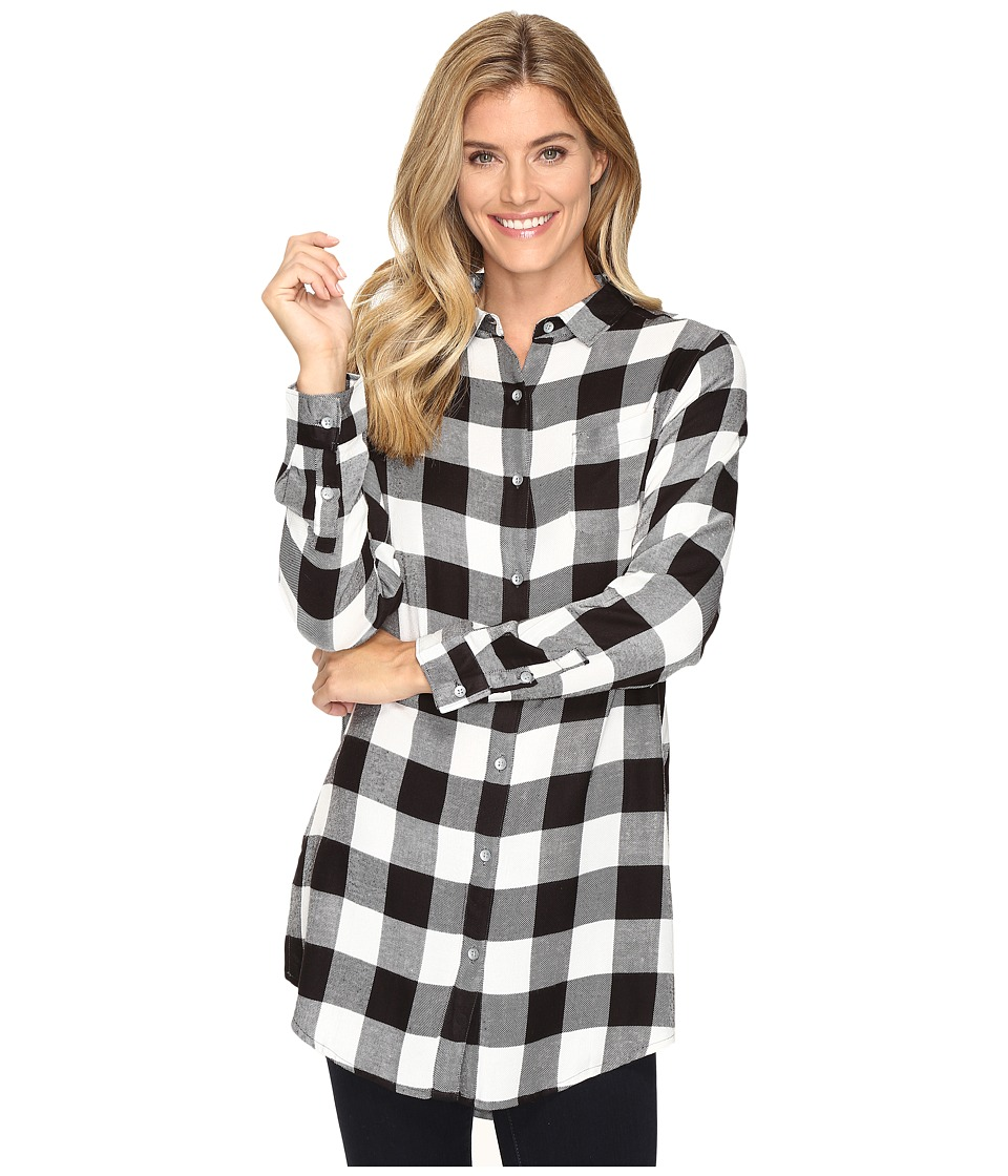Jag Jeans - Magnolia Tunic in Yarn-Dye Rayon Plaid (Black Buffalo) Women's Clothing