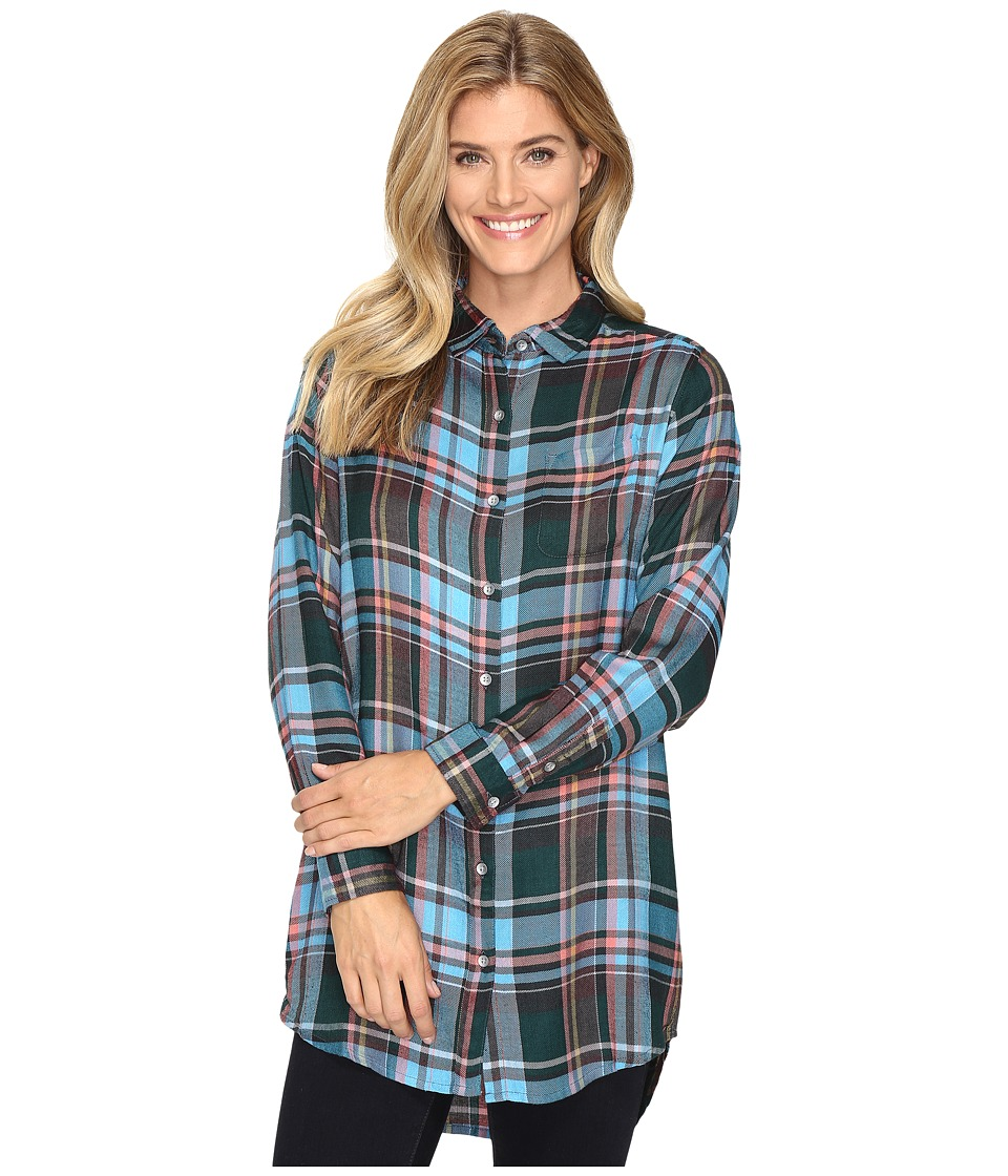Jag Jeans - Magnolia Tunic in Yarn-Dye Rayon Plaid (Turquoise Plaid) Women's Clothing