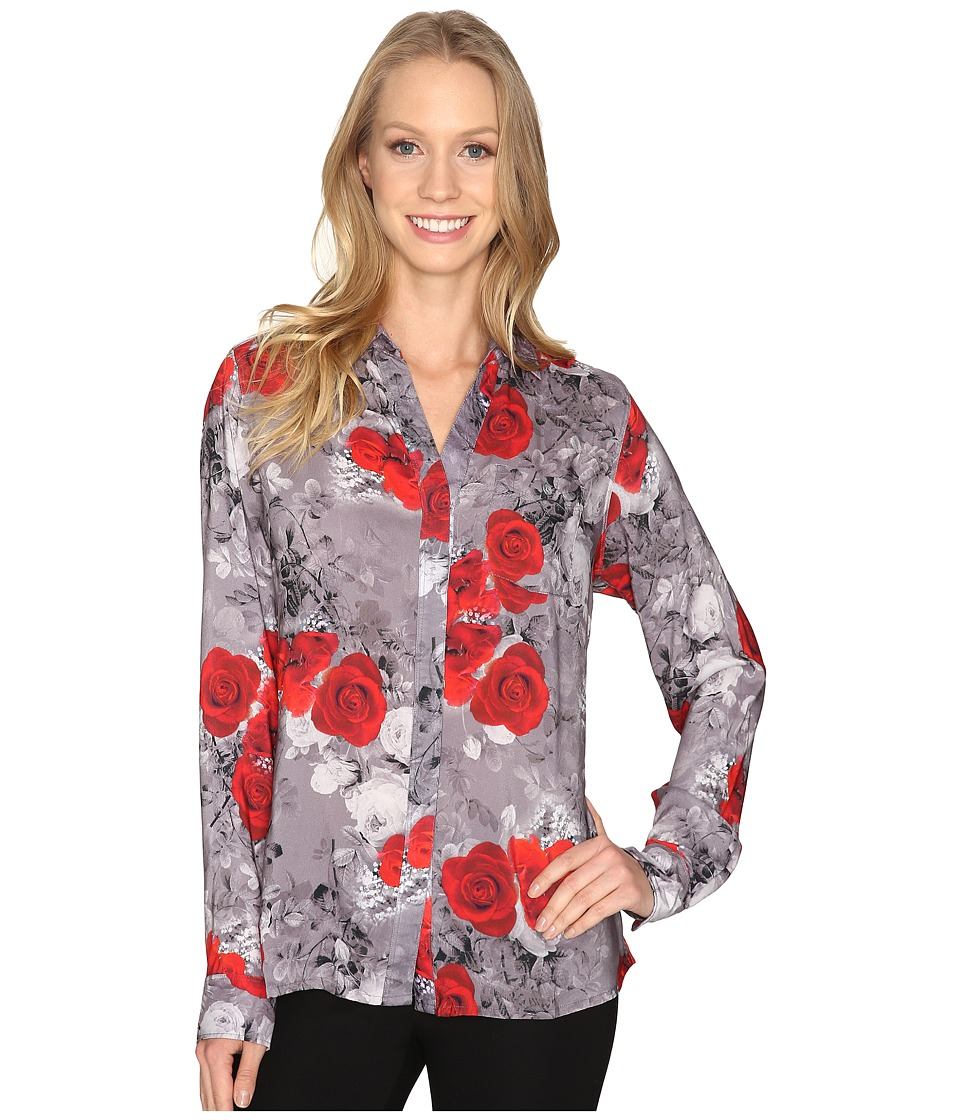 Jag Jeans - Roan Shirt in Printed Rayon (Grey/Floral) Women's Clothing