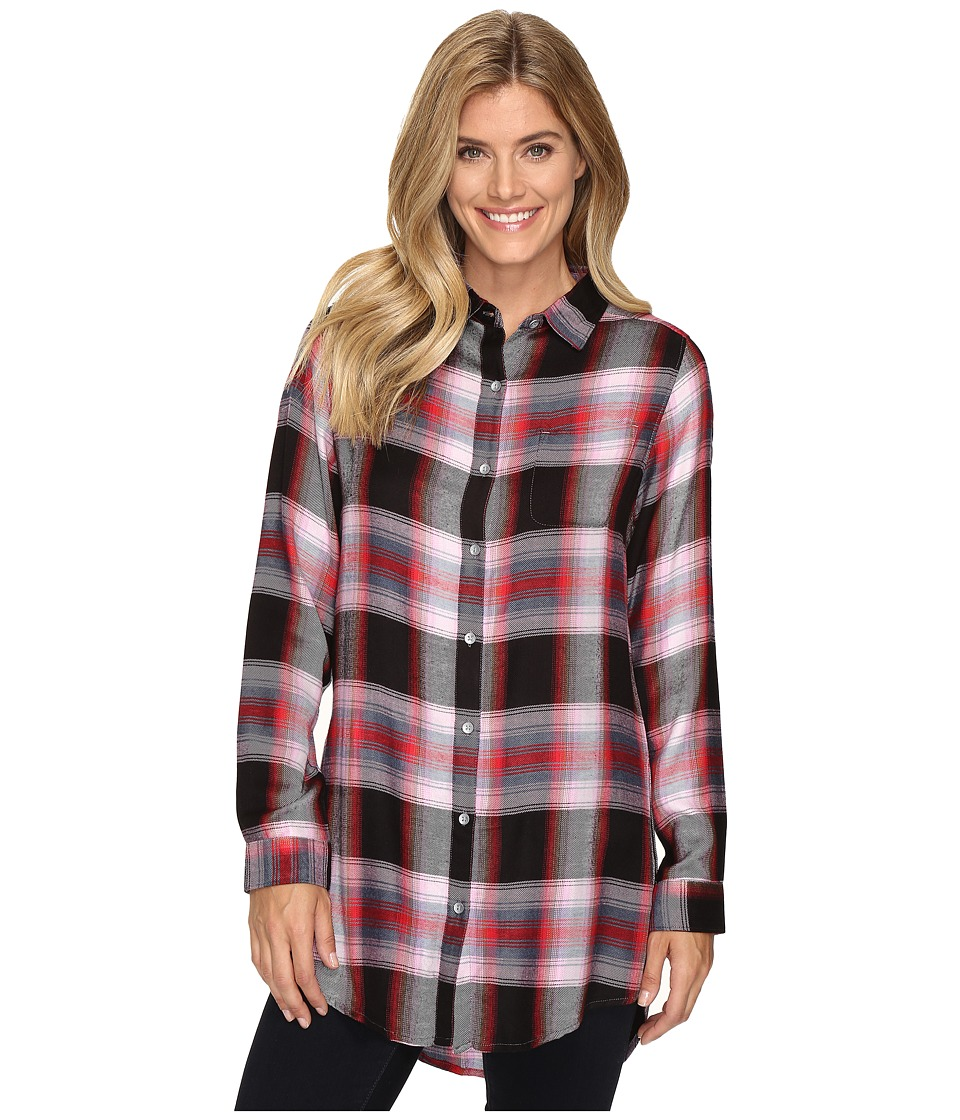 Jag Jeans - Magnolia Tunic in Yarn-Dye Rayon Plaid (Pink Plaid) Women's Clothing