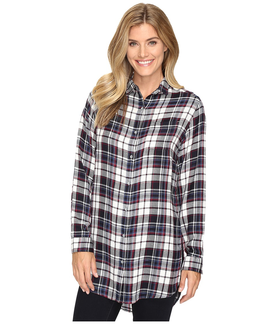 Jag Jeans - Magnolia Tunic in Yarn-Dye Rayon Plaid (Navy Plaid) Women's Clothing