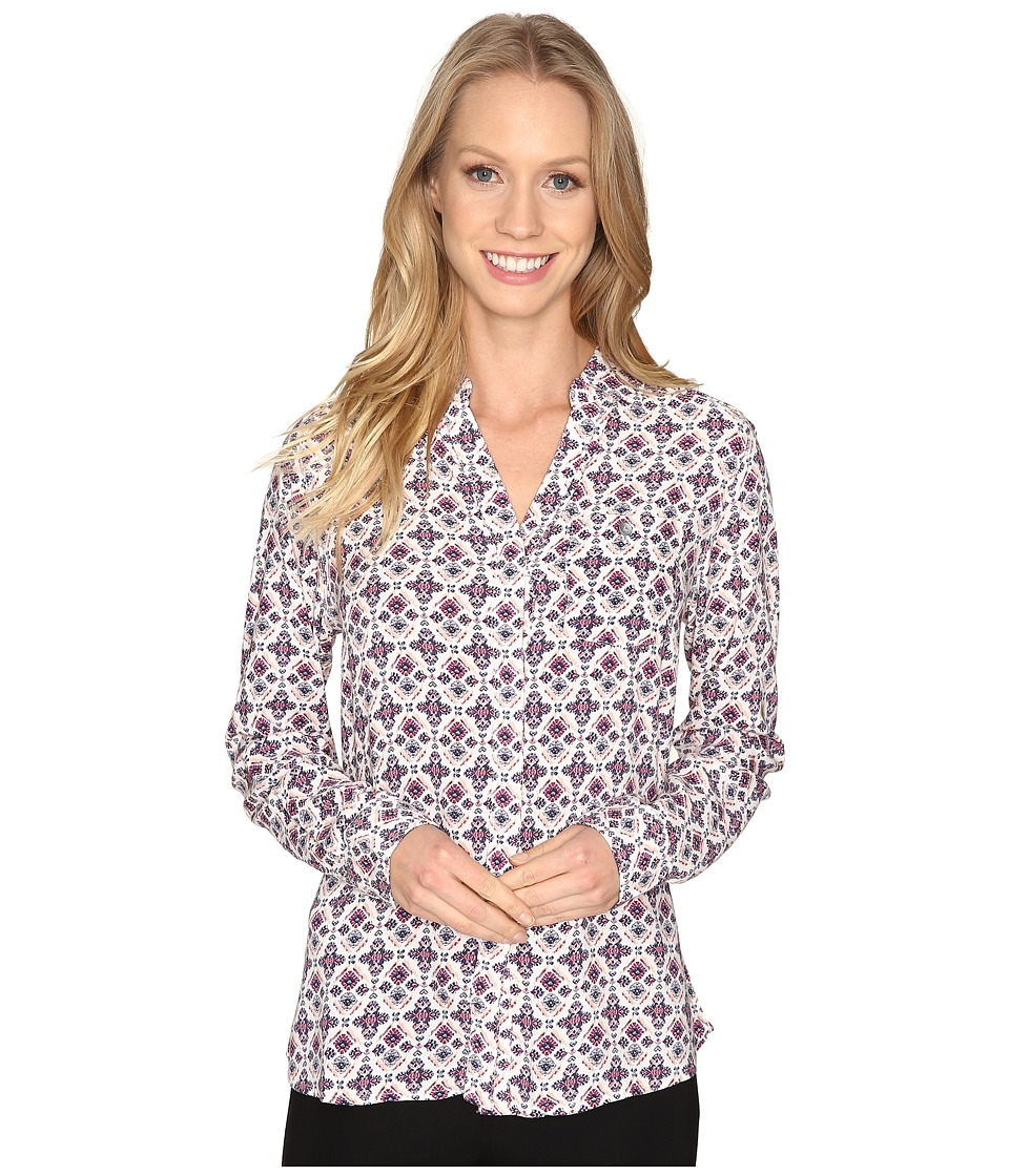 Jag Jeans - Roan Shirt in Printed Rayon (Cream/Tile) Women's Clothing