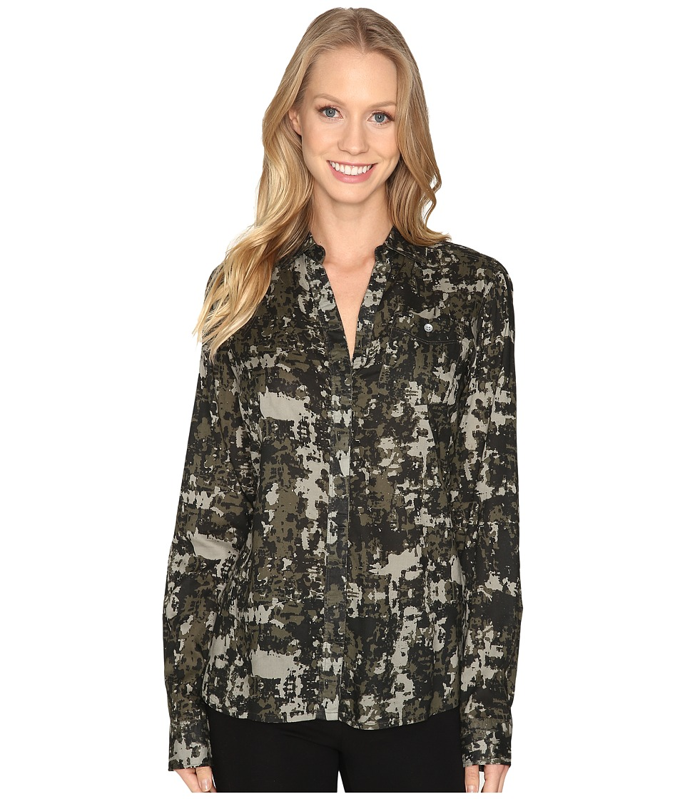 Jag Jeans Roan Shirt in Printed Rayon (Jungle/Camo) Women