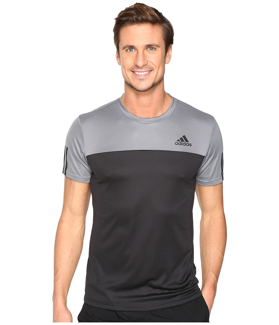 adidas - Essentials Tech Colorblock Tee (Grey/Black) Men's T Shirt