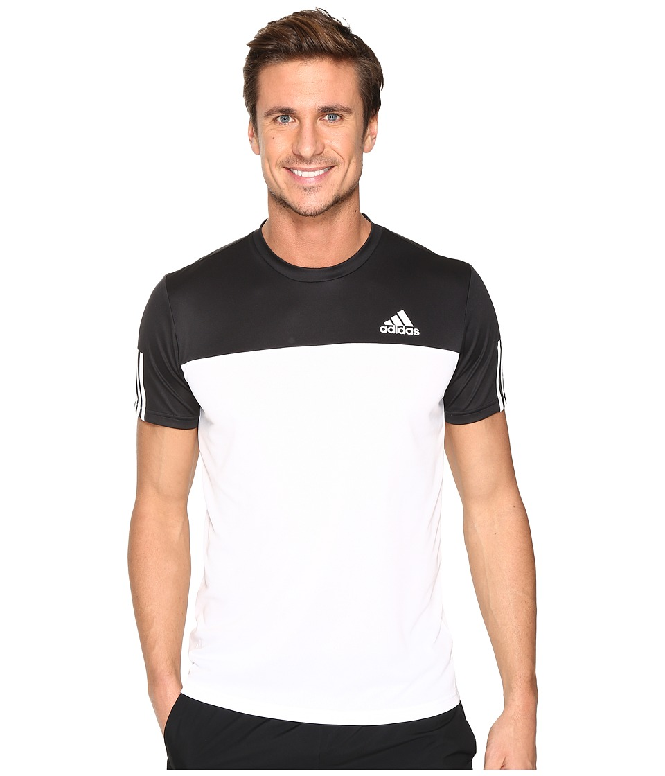 adidas Essentials Tech Colorblock Tee (Black/White) Men