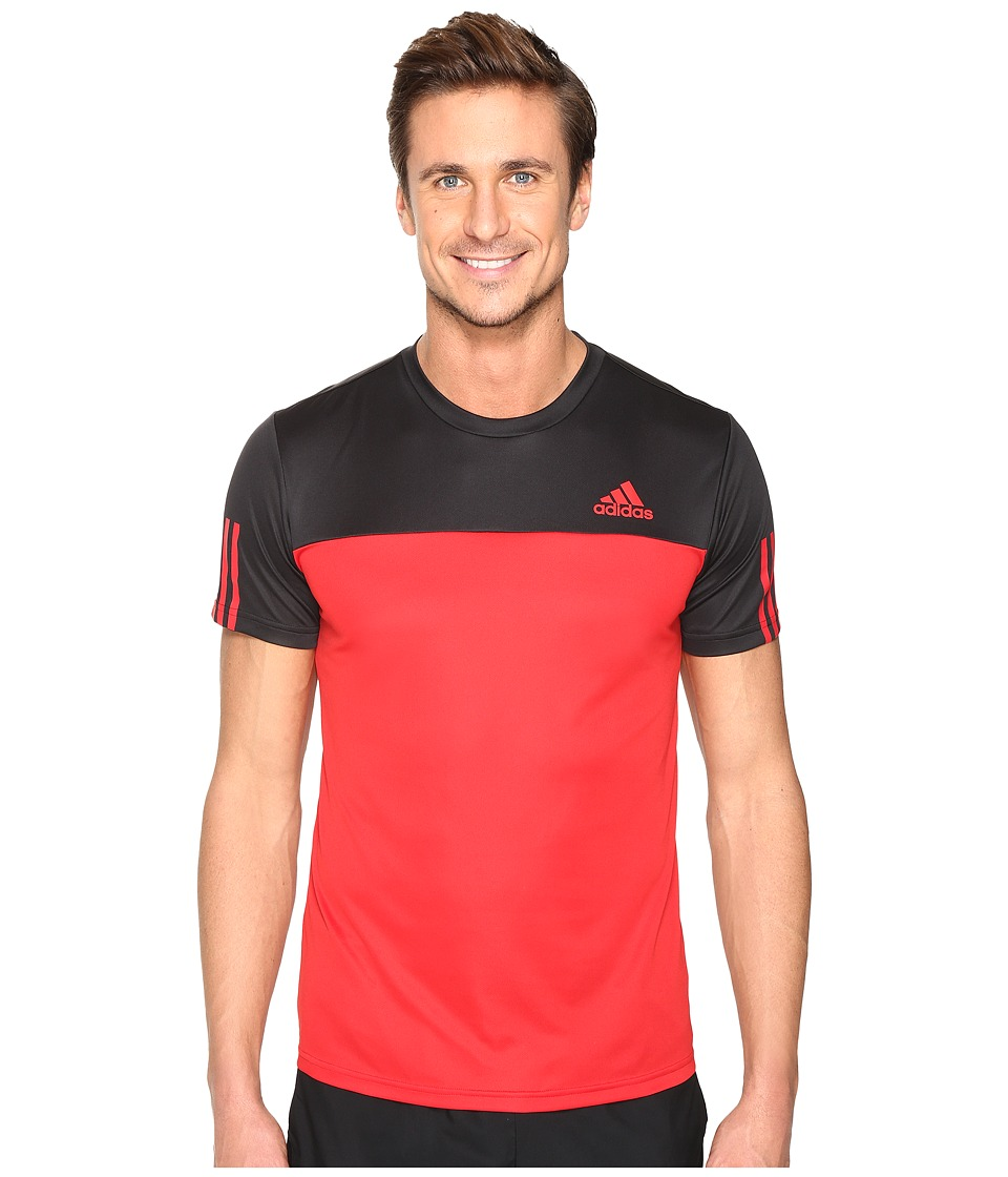 adidas Essentials Tech Colorblock Tee (Black/Scarlet) Men