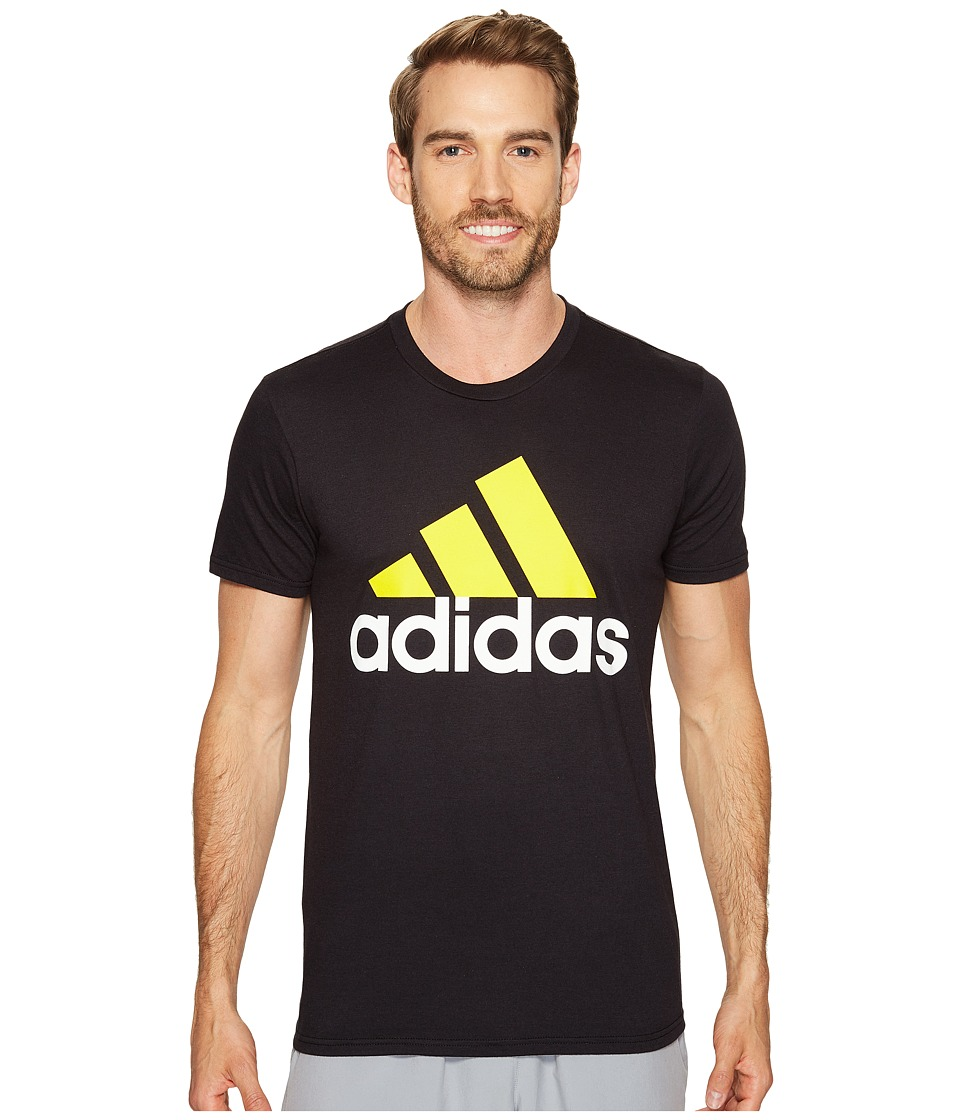 adidas - Badge of Sport Classic Tee (Black/Yellow/White) Men's T Shirt