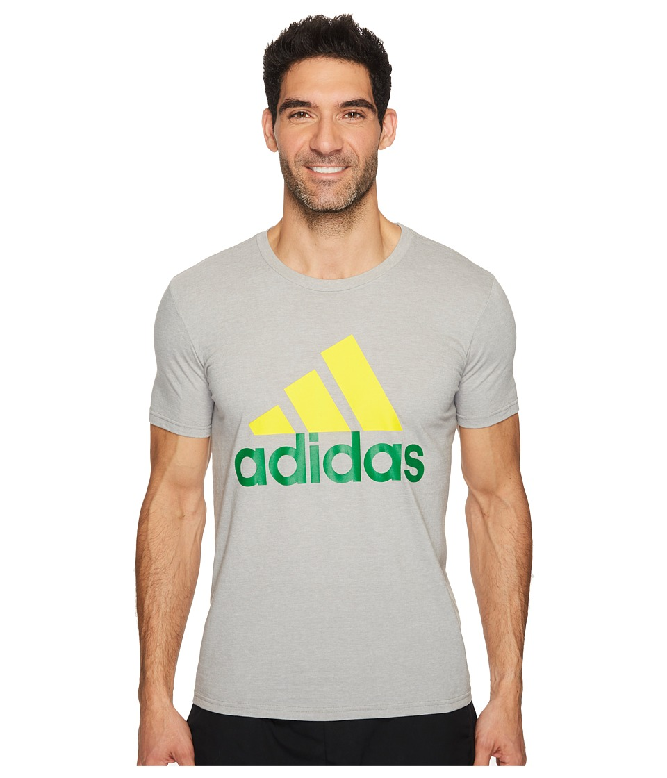 adidas - Badge of Sport Classic Tee (Medium Grey Heather/Yellow/Green) Men's T Shirt