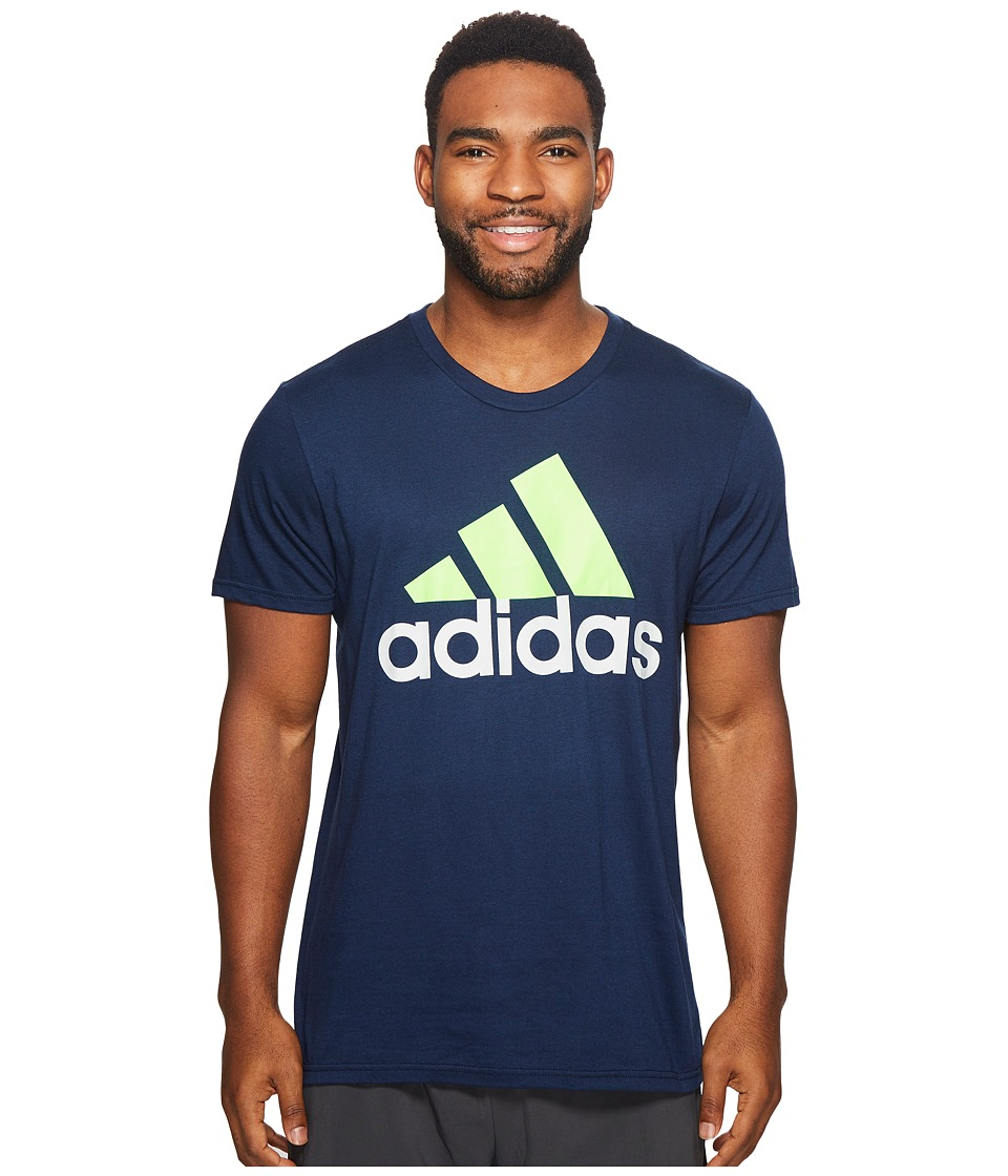 adidas - Badge of Sport Classic Tee (Collegiate Navy/Solar Green/Clear Grey) Men's T Shirt