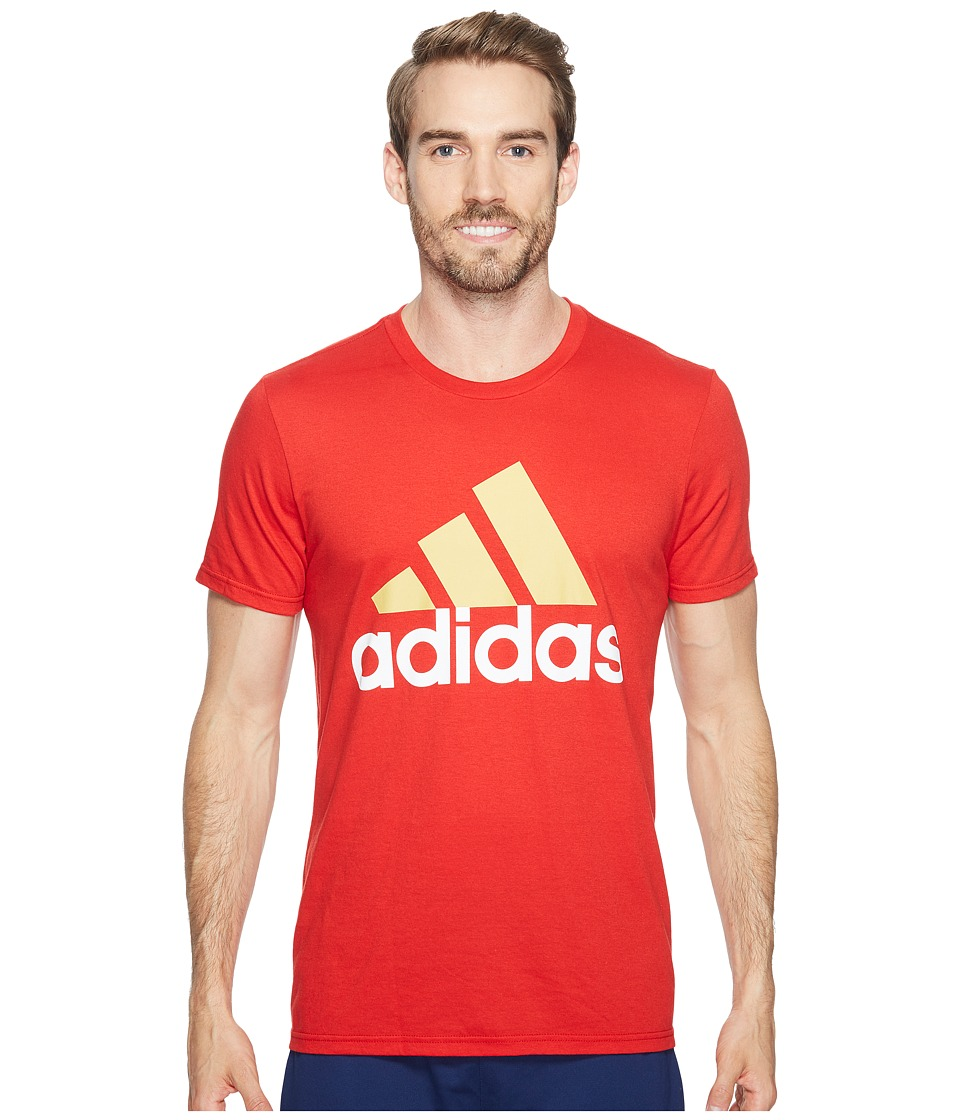adidas - Badge of Sport Classic Tee (Scarlet/Pyrite/White) Men's T Shirt