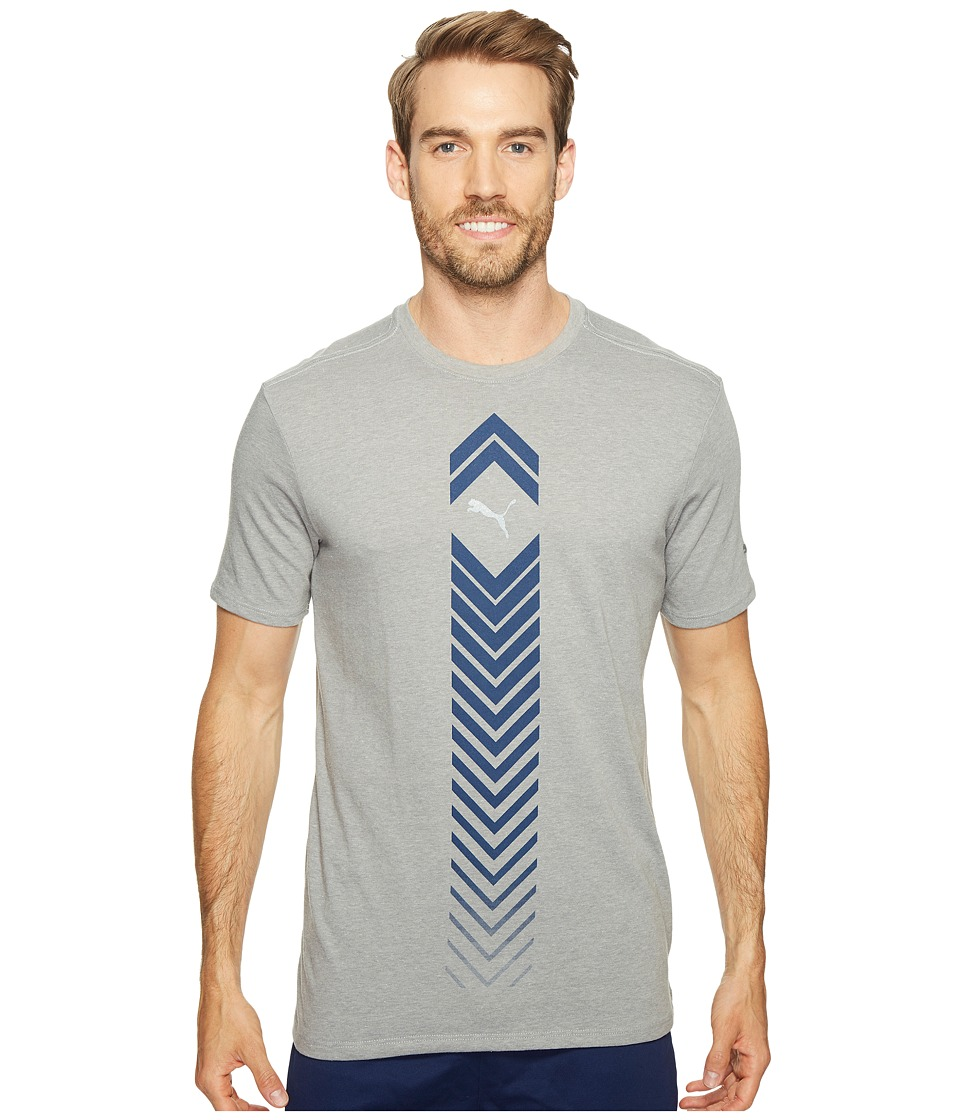PUMA - Ignite Reflector Tee (Medium Gray Heather/True Blue) Men's Clothing