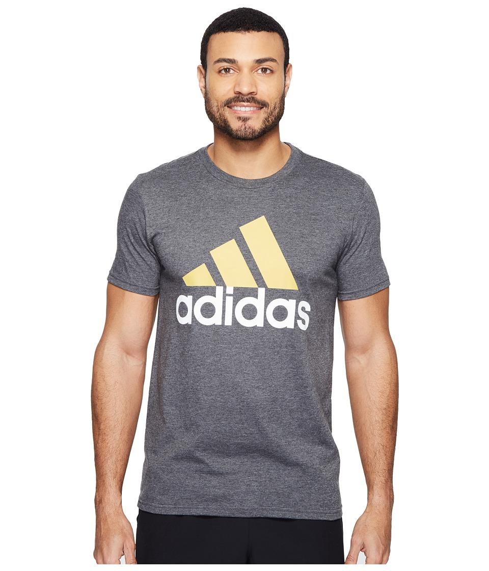 adidas - Badge of Sport Classic Tee (Dark Grey Heather/Pyrite/White) Men's T Shirt