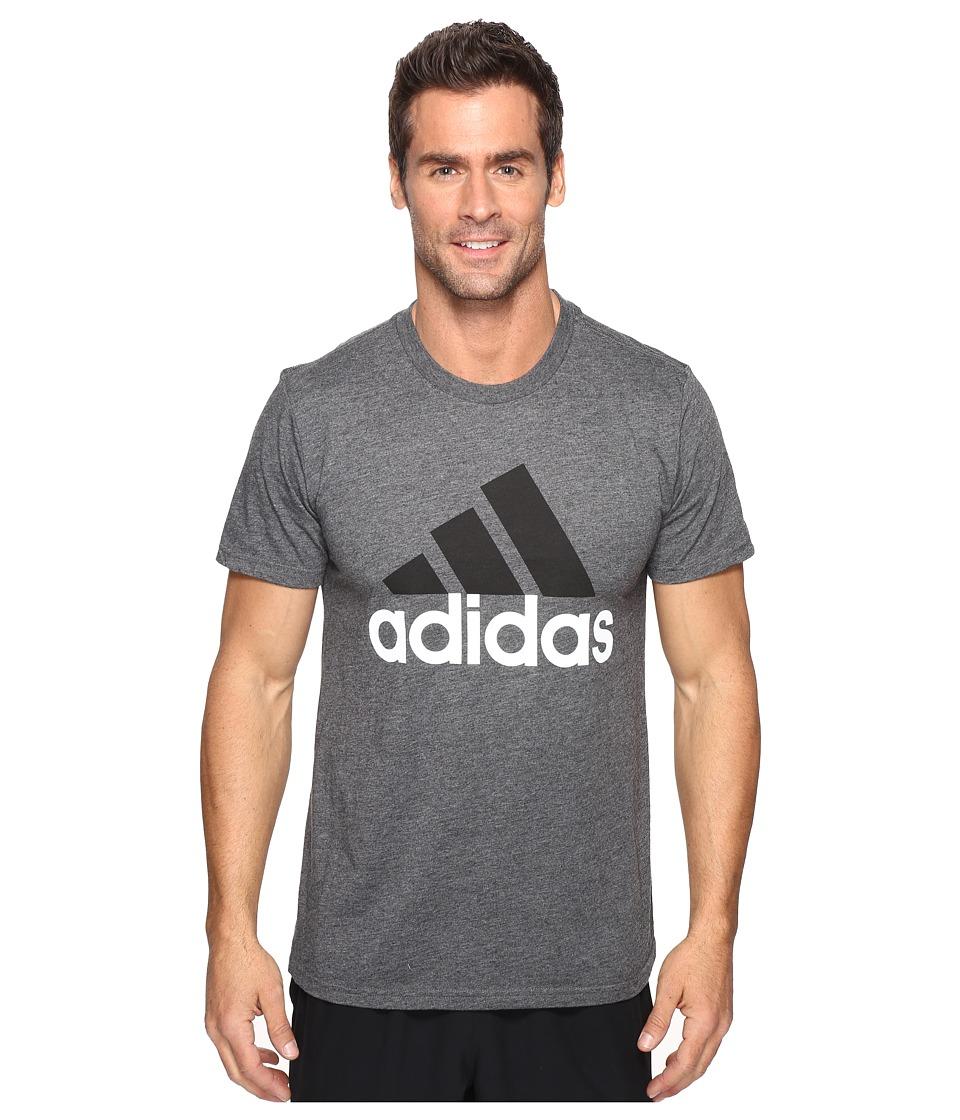 adidas - Badge of Sport Classic Tee (Dark Grey Heather/Black/White) Men's T Shirt