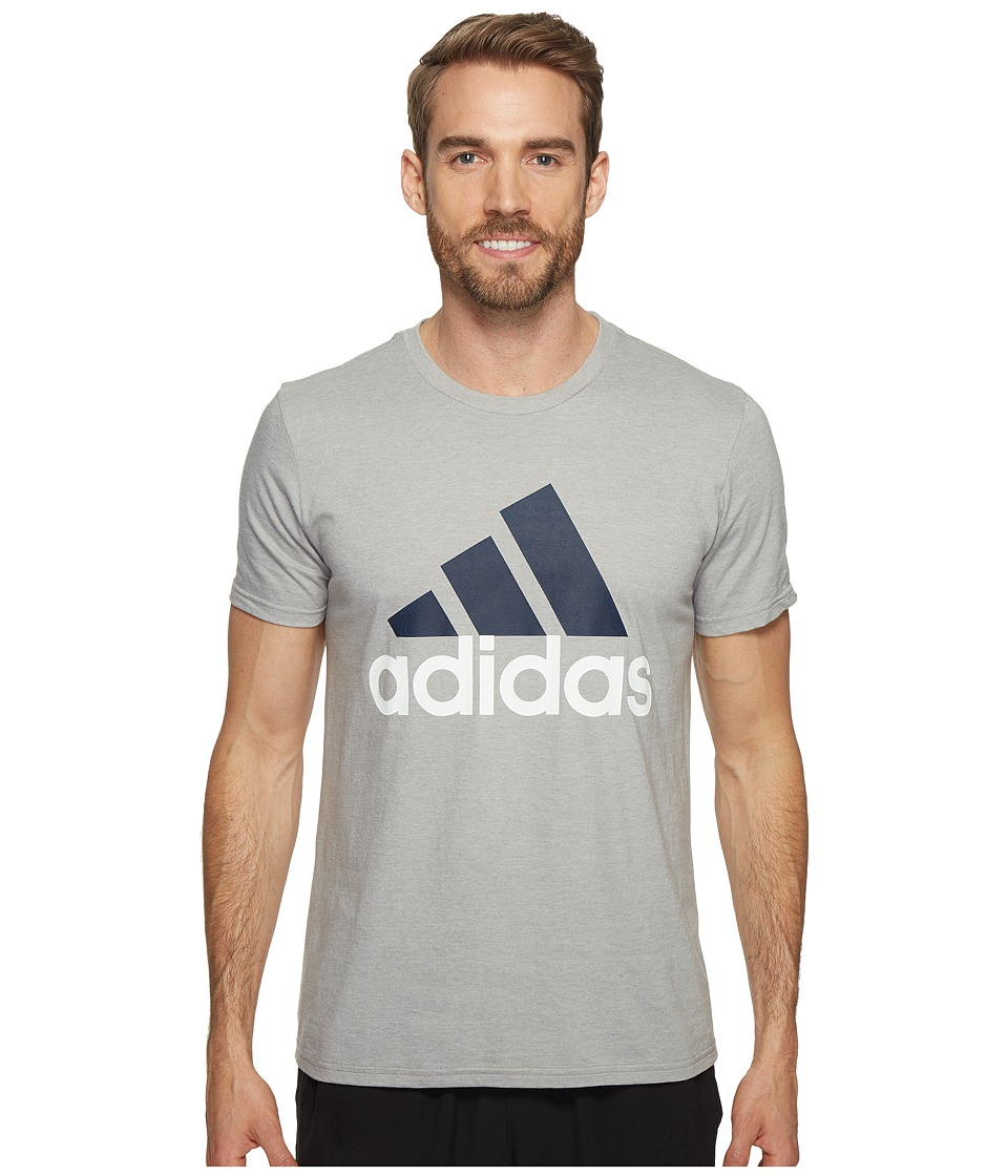 adidas - Badge of Sport Classic Tee (Medium Grey Heather/Collegiate Navy/White) Men's T Shirt