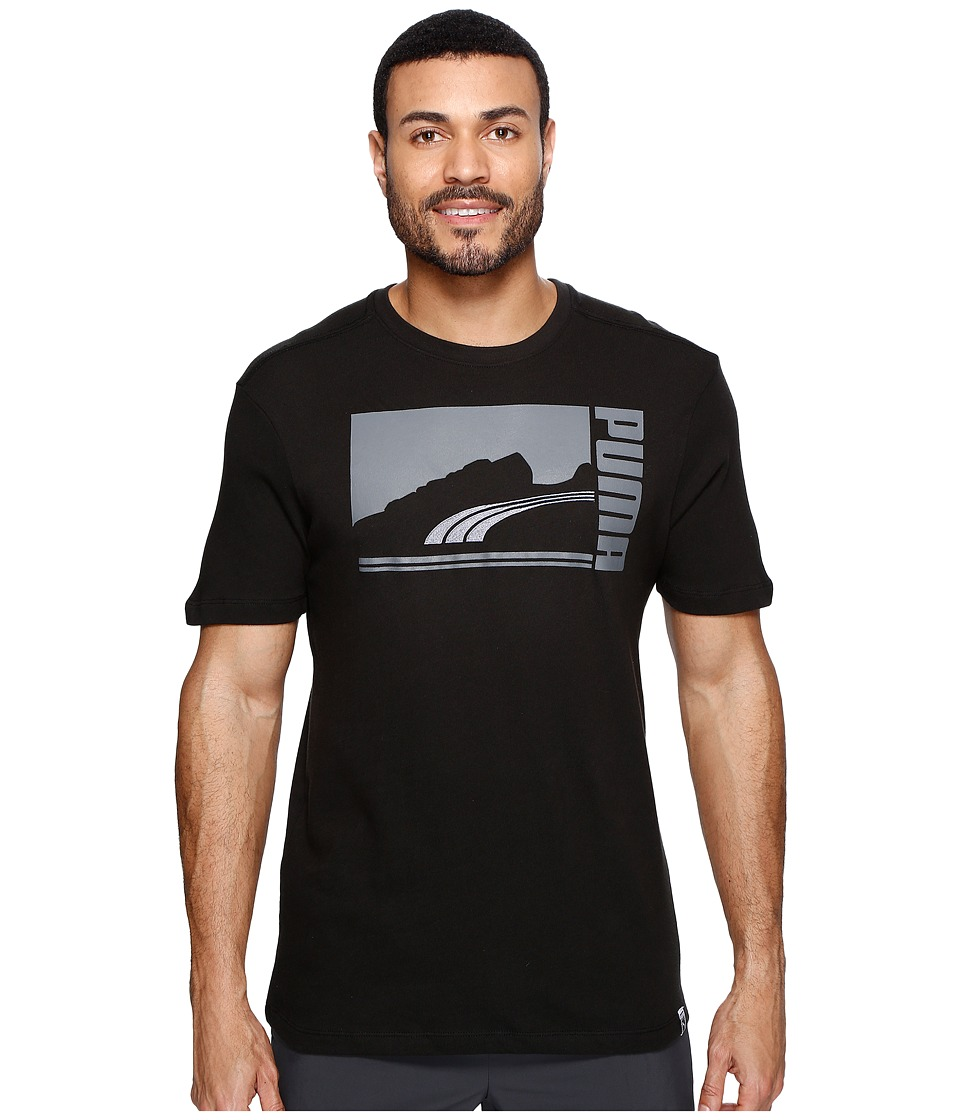PUMA - Mono Suede Tee (Puma Black/Dark Shadow) Men's Clothing