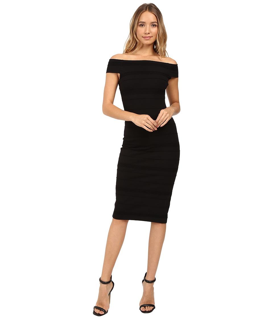 Ted Baker - Inan Stripe Texture Bardot Dress (Black) Women's Dress