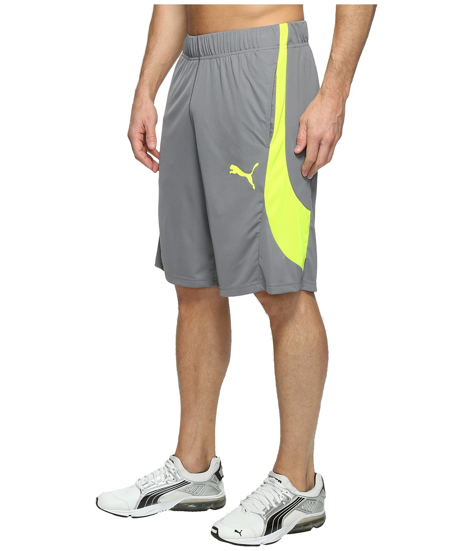 PUMA - Essential Knit Formstripe Shorts (Quiet Shade/Safety Yellow) Men's Shorts
