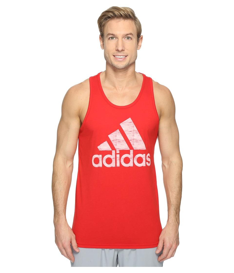 adidas - Washed Adi Tank (Scarlet/White) Men's Sleeveless
