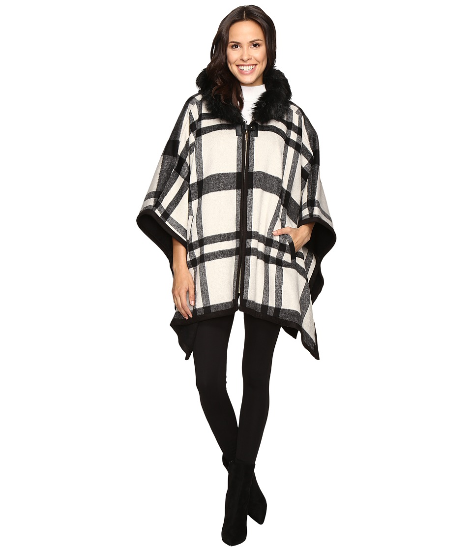 Via Spiga - Hooded Cape with Faux Fur Trim (Black/White) Women's Coat