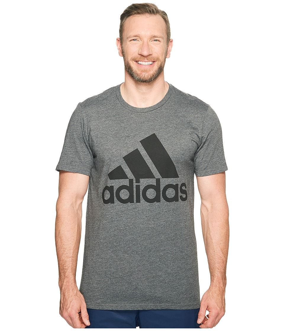 adidas - Big Tall Badge of Sport Classic Tee (Dark Grey Heather/Black) Men's T Shirt