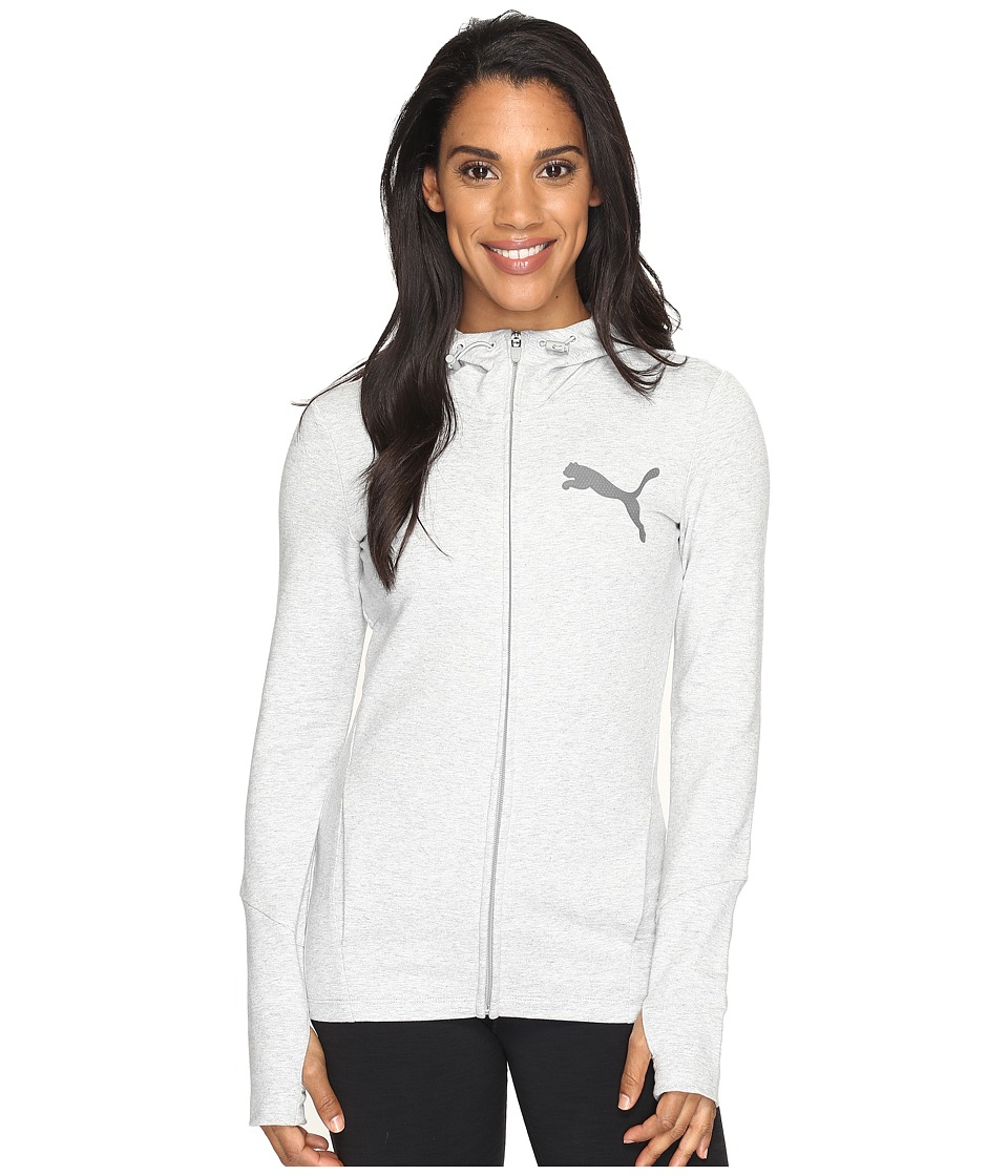 PUMA - Elevated Full Zip Hoodie (Light Gray Heather) Women's Workout