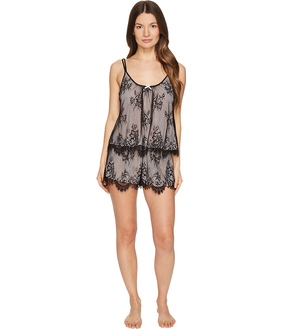 Oscar de la Renta Pink Label - Romantic All Over Lace Tap Set (Black/Blushing Bride) Women's Pajama Sets
