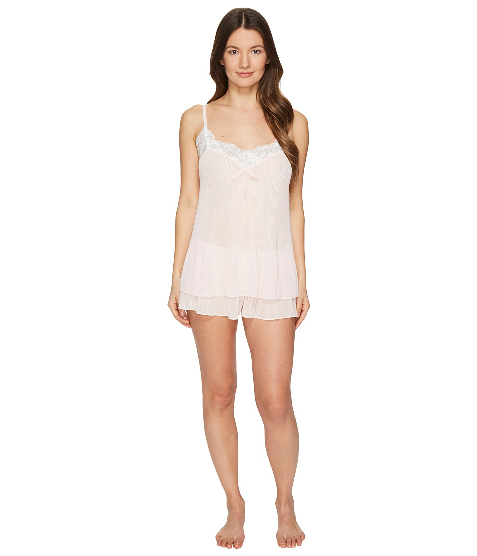 Oscar de la Renta Pink Label - Pleated Georgette Charmeuse Tap Set (Blushing Bride) Women's Pajama Sets