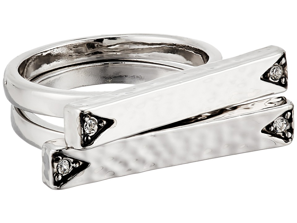 House of Harlow 1960 - Golden Scutum Bar Ring Set (Silver) Ring