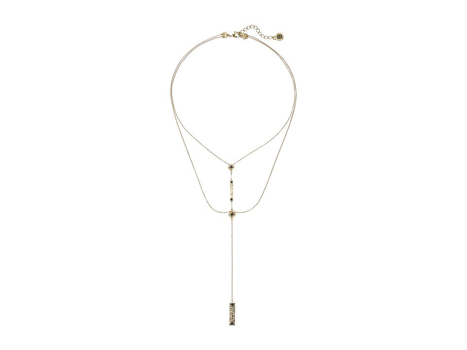 House of Harlow 1960 - The Lyra Double Strand Y Necklace (Gold/Blue) Necklace