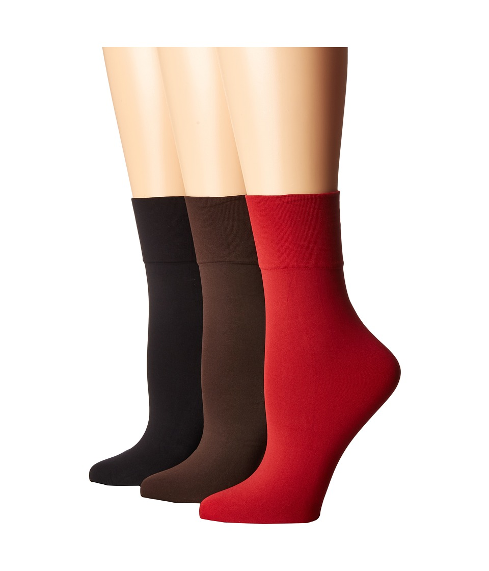 HUE - Simply Skinny Socks 3-Pack (Black/Espresso/Deep Red) Women's Crew Cut Socks Shoes