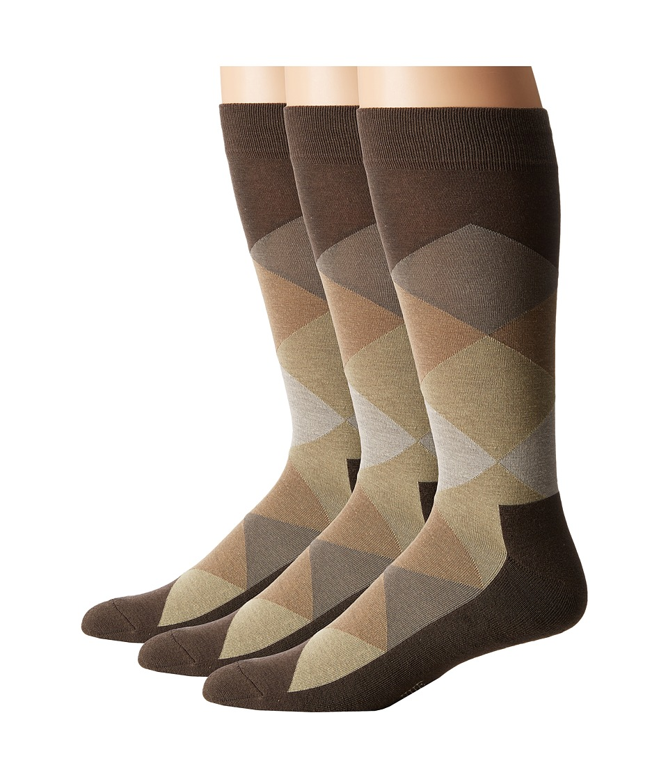 HUE - Blocked Sock with Half Cushion 3-Pack (Major Brown Pack) Men's Crew Cut Socks Shoes