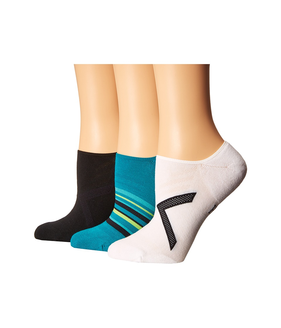 HUE - Ergonomic Liner 3-Pack (Black/White/Teal) Women's Crew Cut Socks Shoes
