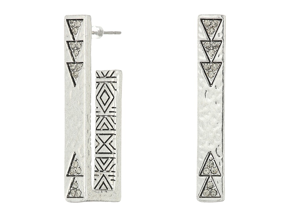 House of Harlow 1960 - Golden Scutum Bar Earrings (Silver) Earring
