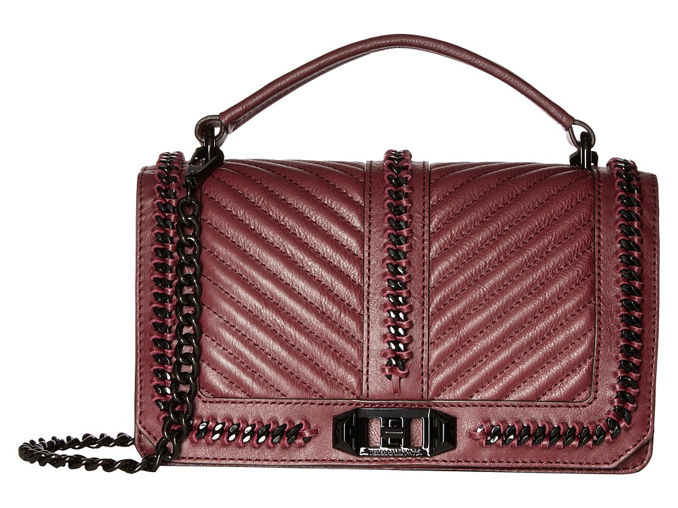 Rebecca Minkoff - Love Crossbody with Chain and Top-Handle (Dark Cherry) Cross Body Handbags
